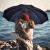 パラソル折りたたみ増量サイズ二人の男女二人三つ折り、防風ビジネス晴雨両用傘カスタマイズロゴパープル