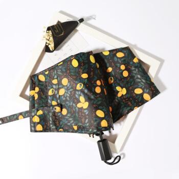 C'monレモンサンシェード日傘黒いゴムの日よけ傘小さな黒い傘たたむ晴雨兼用傘女性の紫外線対策黒
