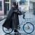 多美忆レンコートバイク男女屋外バイクポンチシングルレンコート大帽子のファッション児童学生骑行レインコート黒×L