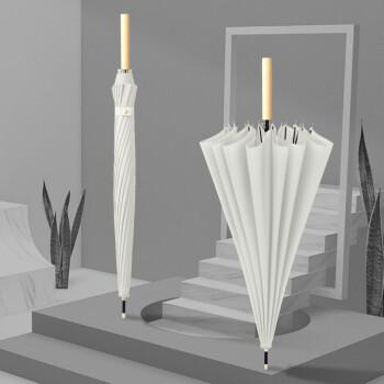 16骨の長い柄の傘の復古する文芸の木柄の小さい清新なまっすぐな竿の晴雨は傘を兼用して男女通用する米白色